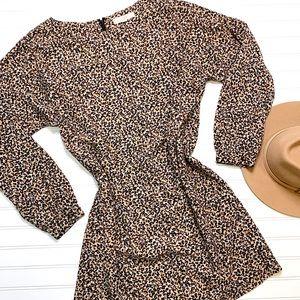 LOFT leopard print long sleeve shift dress